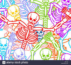 day of the dead seamless pattern multicolored skeleton ornament