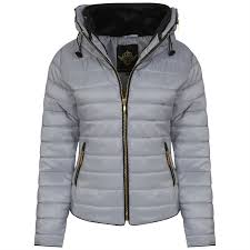 womens padded bubble fur collar quilted coat ladies zip thick hood