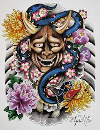 traditional japanese hannya mask tattoo design photo 2 2017
