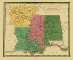 Louisiana Area Code Map by Old Map Alabama Mississippi Louisiana Arkansas 1830