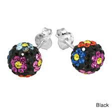 thailand earrings handmade silver sweet daisies cubic zirconia stud earrings