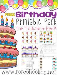 free birthday printable pack totschooling toddler preschool