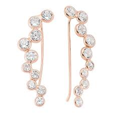 ear climber earring gold plated sterling bezel set cubic zirconia ear climber