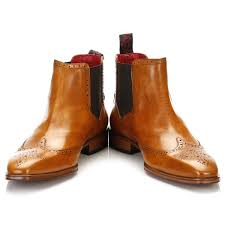 jeffery west mens honey brown brogue chelsea boots pull on leather