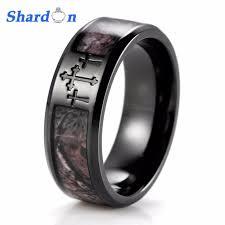 titanium band shardon men s black three cross camo ring titanium outdoor