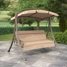 patio swing with canopy clearance warm gray and beige finish white