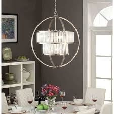 brushed nickel crystal orb 6 light chandelier free shipping