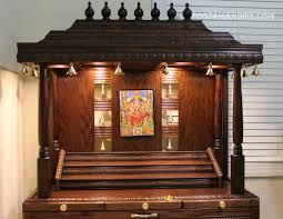 wooden pooja mandir 4 ft height with exc puja room design