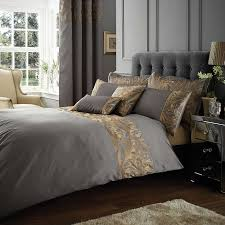 grayson embroidered pewter duvet cover pewter bed linen and duvet