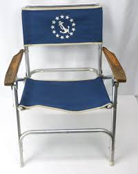 Patio Folding Chair by Vtg Aluminum Folding Chair Us Navy Anchor Print Fold Up Blue