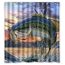 Fishing Shower Curtains Generic Personalized Large Bass Colorful Bling