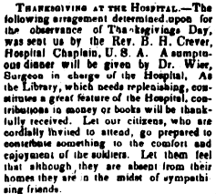 celebrating thanksgiving in a civil war hospital in 1864