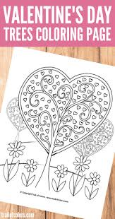 heart trees valentines coloring trail colors