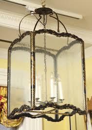 Rectangular Lantern Chandelier Large Chinoiserie Black Lacquer Rectangular Hall Lantern Circa
