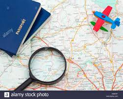 Connecticut where can i travel without a passport images Miniature airplane passport and magnifying glass on map travel jpg