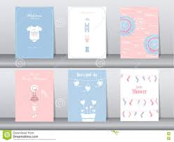 Greeting Cards For Invitation Set Of Baby Shower Invitation Cards Poster Template Greeting Cards