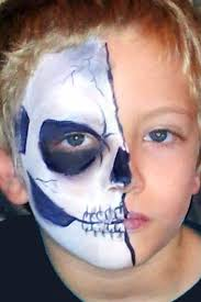 skeleton faces halloween half skeleton face paint for halloween done with dfx white and