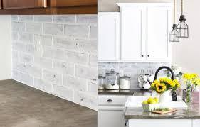 Diy Kitchen Backsplash Ideas Kitchens Whitewashed Faux Brick Backsplash Diy Kitchen