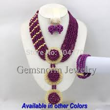 purple stone necklace set images Royal blue nigerian wedding bridal jewelry set chunky african jpg