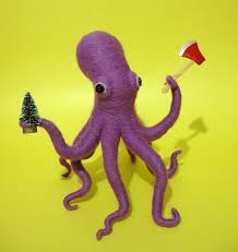 axe wielding octopus wishes you a merry neatorama