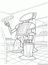 coloring page robot on a sink