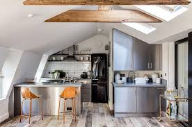 industrial kitchen design ideas modern kitchen attic kitchen with skylights and tiled backsplash