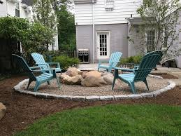Pea Gravel Patio Pea Gravel Fire Pit Patio Traditional With White And Gray Siding