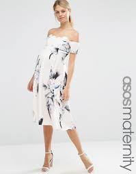 maternity occasion wear image 1 of asos maternity scalloped bardot midi dress in spaced