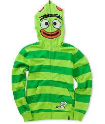 volcom boys yo gabba gabba brobee green face mask hoodie zumiez