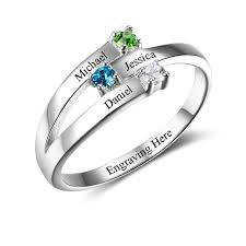 birthstone rings 925 sterling silver rings birthstone rings for family personalized