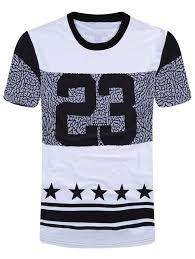 number star print color block t shirt in white and black xl