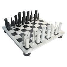 black u0026 white modern style chess set