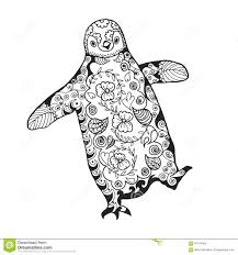 cute penguin antistress coloring page stock illustration