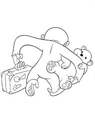 curious george leaving teddy bear coloring netart