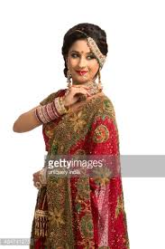 Traditional Wedding Dresses Smiling Indian Bride In Traditional Wedding Dress Stock Photo