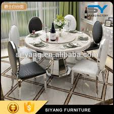 table rotating center designs stainless steel furniture design marble dining table with