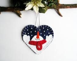 Heart Home Decor Christmas Snowman Tree Ornaments Felt Snowman Home Decor