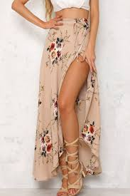 boho wrap light pink floral pattern boho wrap maxi skirt skirts maxi skirt