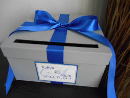 Royal Blue And Silver Wedding Custom Wedding Card Box With Silver Gray Cobalt Royal Blue