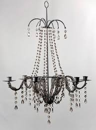 Candle Holder Chandeliers Beaded Chandelier Candle Holder Smokey Grey Wedding Black