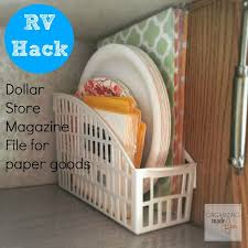 24 Easy Rv Organization Tips by Rv Hack Inexpensive Dollar Store Magazine File For Paper Goods
