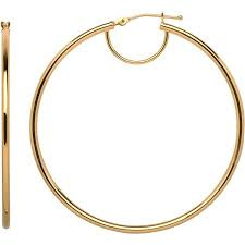 hoop earrings simply gold 10kt yellow gold hoop earrings walmart