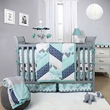 amazon com mosaic 4 piece baby crib bedding set with bumper by