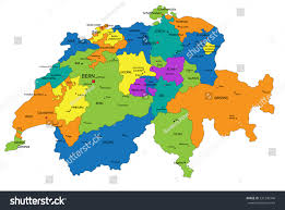 Switzerland World Map by Colorful Switzerland Political Map Clearly Labeled Stock Vector
