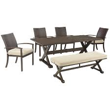 Wayside Furniture Akron by Signature Design By Ashley Moresdale Outdoor Dining Set With Bench