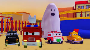 search halloween city the car patrol fire truck and police car and ghost scaring the