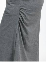 dresses gray 2xl plus size casual midi hoodie dress with pockets