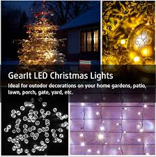 solar led xmas lights gearit led christmas lights 200 count led solar powered string