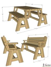 Free Picnic Table Plans 8 Foot by Convertible Picnic Table And Bench Picnic Tables Picnics And