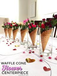 party centerpieces 5 minute waffle cone and flower galantine s party centerpieces